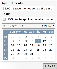 Gnome/Evolution Calendar Applet Screenshot