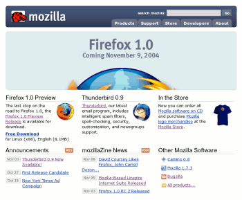 Screenshot of Mozilla.org with Pre-Firefox 1.0 announcement